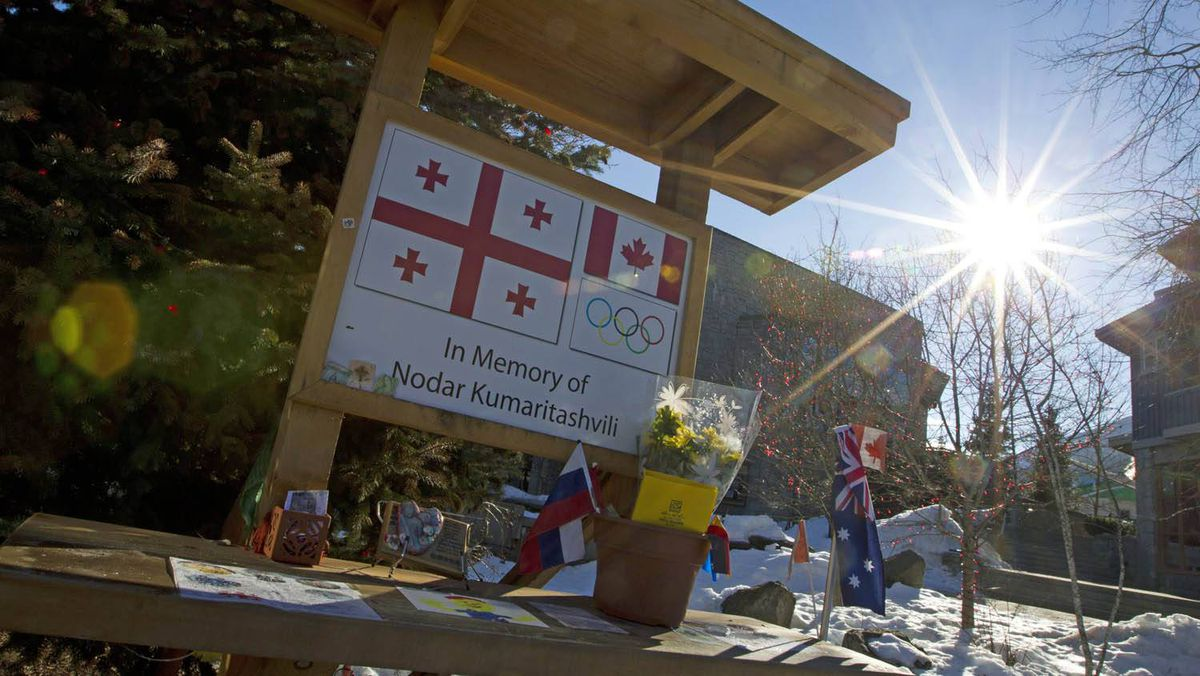 Memorial for Georgian luger Nodar Kumaritashvili, who died on the Whistler track just days before Olympic event was to start.