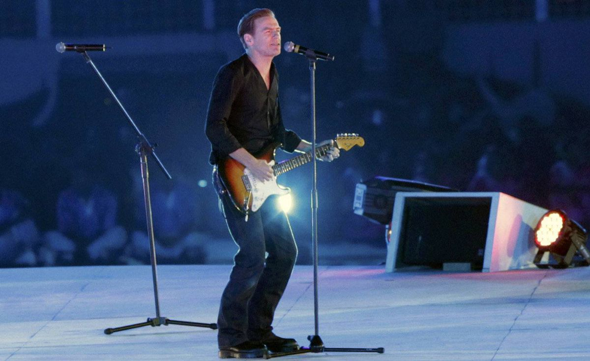 Canadian singer Bryan Adams performs during the opening ceremony for the International Cricket Council (ICC) Cricket World Cup at the Bangabandhu National Stadium in Dhaka, February 17, 2011.