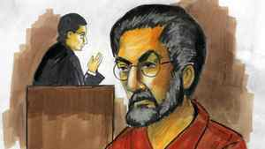 In this courtroom sketch, Tahawwur Hussain Rana, charged with plotting a terrorist attack on a Danish newspaper, appears before federal Magistrate Judge Nan Nolan on Wednesday, Dec. 2, 2009, in Chicago. Nolan, saying she wanted to study the evidence, postponed a decision on whether to set bond for Rana at least a week.