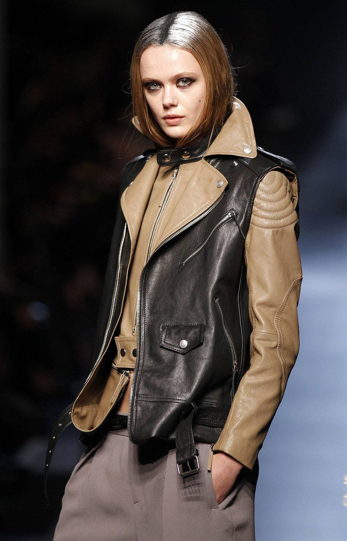 Could this really be the work of Jean Paul Gaultier, Monsieur Enfant Terrible? A leather jacket-vest combo that folds in on itself and detaches as desired is supercool, as they say, but also more indicative of a designer approaching his 60th birthday. Which is to say, talent without excess.
