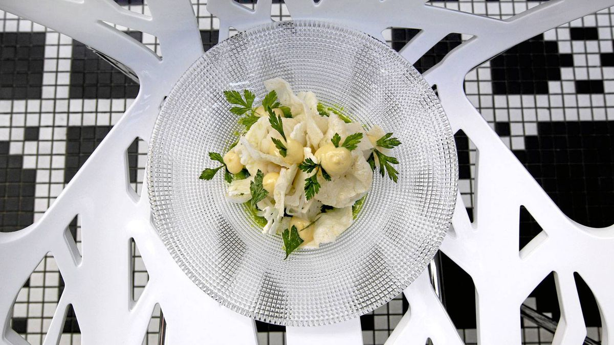Salad of chicken and lightly pickled cauliflower is served at L'Abbatoir