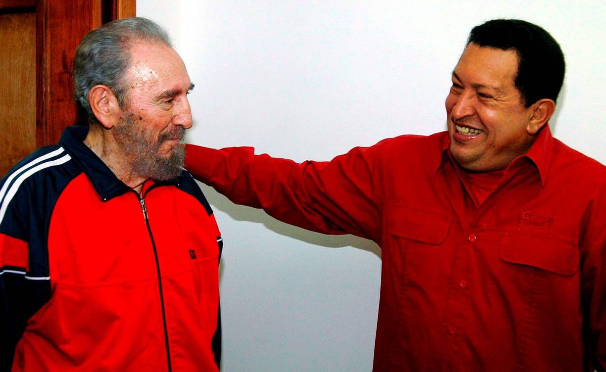 Castro shares a moment with his Venezuelan counterpart Hugo Chavez in Havana Jan. 29, 2007.