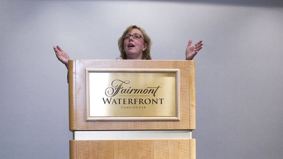 Green Party Leader Elizabeth May speaking in Vancouver, March 30, 2011.