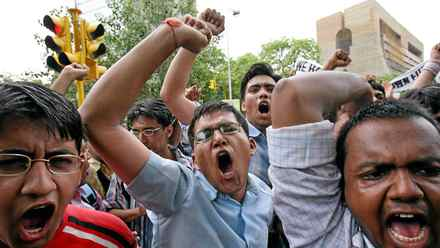 Students shout slogans during a protest against the reservation of college places for lower castes in New Delhi.