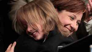 British Columbia Liberal Leadership candidate Christy Clark hugs her son Hamish, 9, after being elected as the party's new leader in Vancouver, B.C., on Saturday February 26, 2011. Clark replaces outgoing Premier Gordon Campbell.