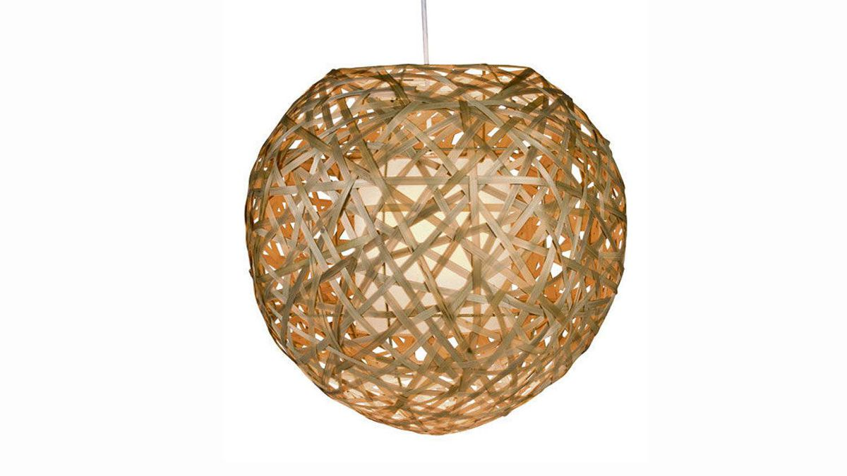 Available in natural- and wenge-wood shades, Urban Barn's spherical Hanging Lamp is made from strips of woven bamboo to gently diffuse the light. $129 at Urban Barn (www.urbanbarn.com).