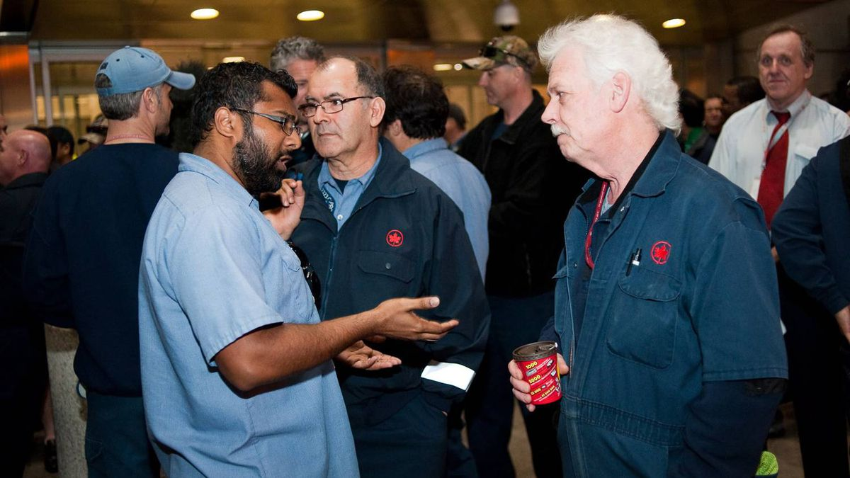 Air Canada baggage handlers hold a wildcat strike at Toronto Pearson Airport early Friday March 23, 2012.