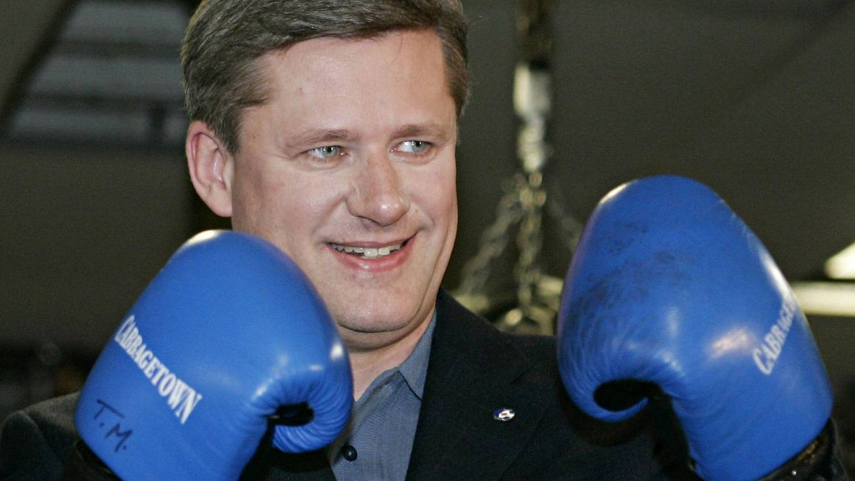 Conservative Leader Stephen Harper shows off his form with blue boxing gloves during a visit to the Cabbage Town Youth centre while campaigning in Toronto Tuesday, Dec. 20, 2005.