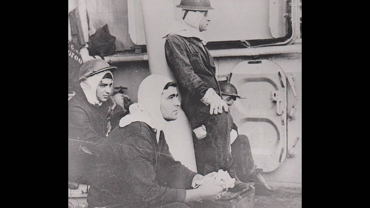 """Deborah Gignac photo: Remembrance Day photo - This photo is from the HMCS Uganda, March 1945. The gentleman holding his gloves is my father, Harold James Jessop, who was a 4""""gunner during the Second World War."""