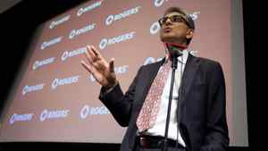 Rogers CEO Nadir Mohamed addresses shareholders and media during the company's annual general meeting Wednesday in Toronto.