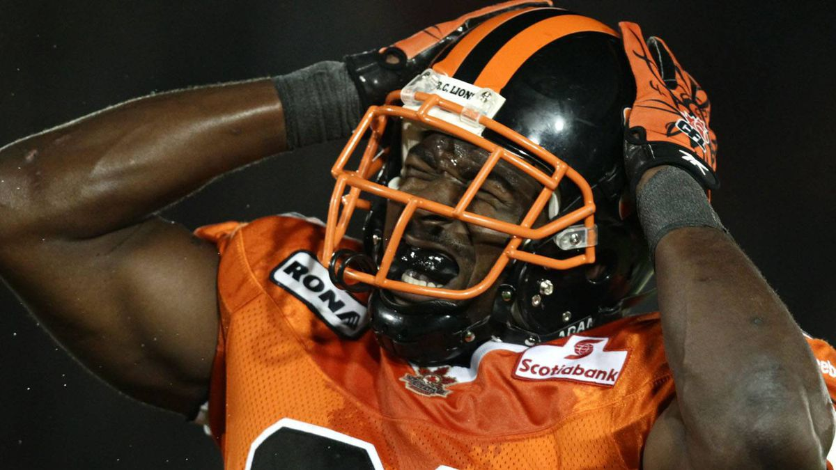 B.C. Lions' Jerome Messam reacts after failing to make a reception against the Calgary Stampeders during second half CFL action in Vancouver, B.C., on Friday August 27, 2010. THE CANADIAN PRESS/Darryl Dyck