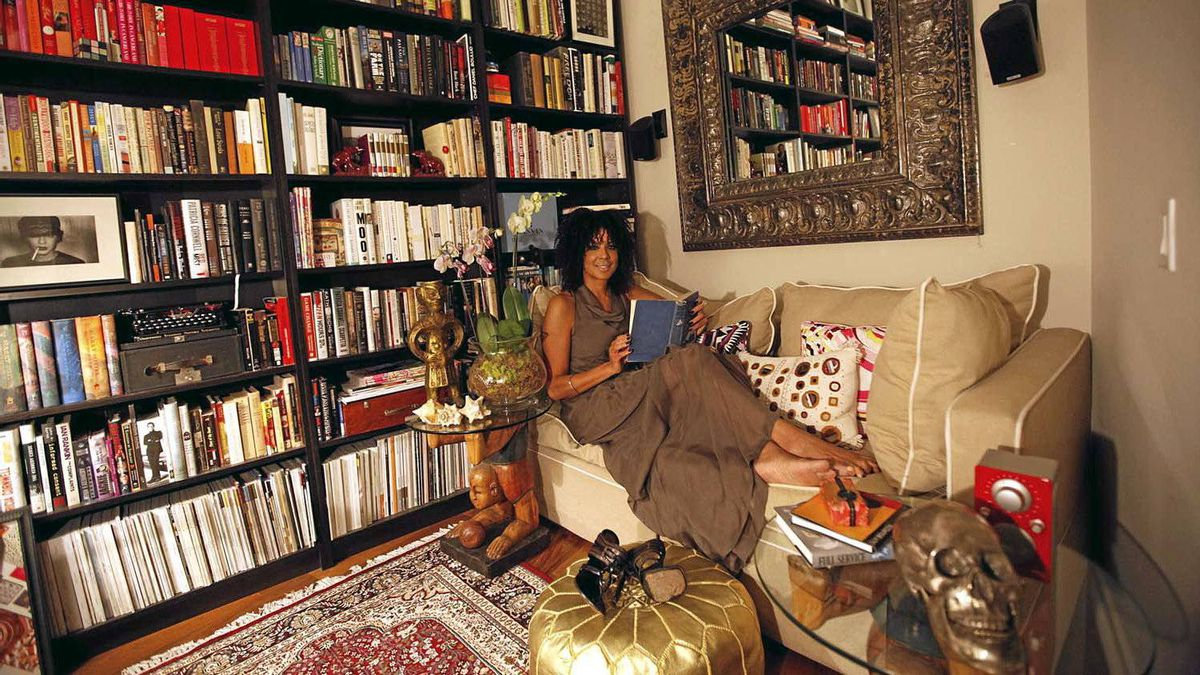 Zoomer magazine editor-in-chief Suzanne Boyd reads in her home office in Toronto on March 13, 2012.