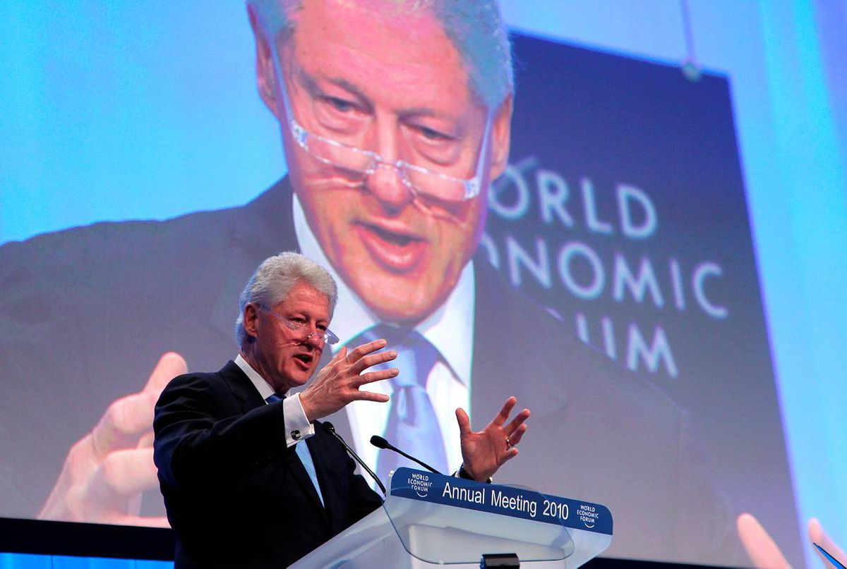 Former US president Bill Clinton talks during the Special Session on Haiti, on the second day of the World Economic Forum meeting in Davos on Thursday.