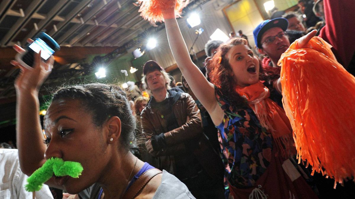 NDP supporters celebrate Jack Layton 's victory as Leader of the Official Opposition on May 2, 2011 in Toronto.