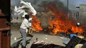 A picture taken on Jan. 29, 2008 shows ethnic clashes in the Rift Valley town of Naivasha. Roberto Schmidt/AFP/Getty Images