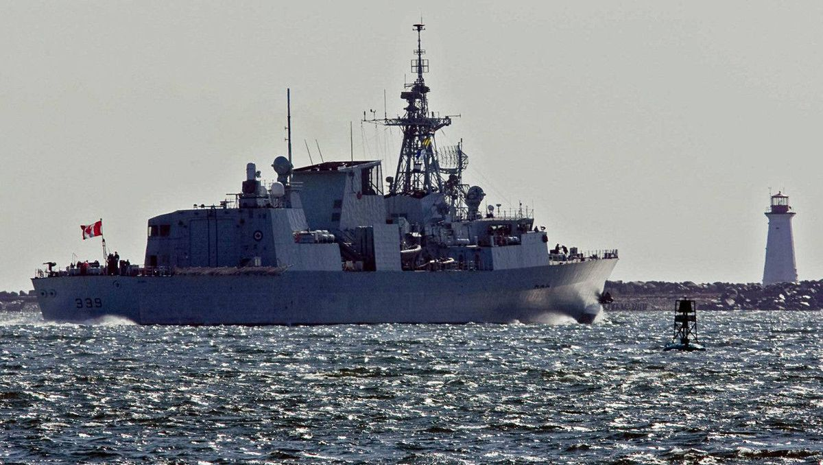 A Canadian Forces frigate heads out of Halifax harbour in March of 2011.