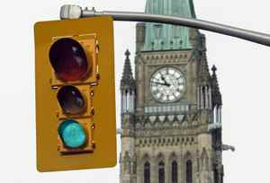 Traffic gets a green light near the Peace Tower ahead of the resumption of Parliament on Wednesday March 3, 2010.