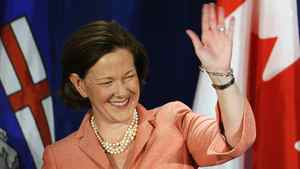PC leader Alison Redford reacts after winning the provincial election in Calgary, Alberta, April 23, 2012.