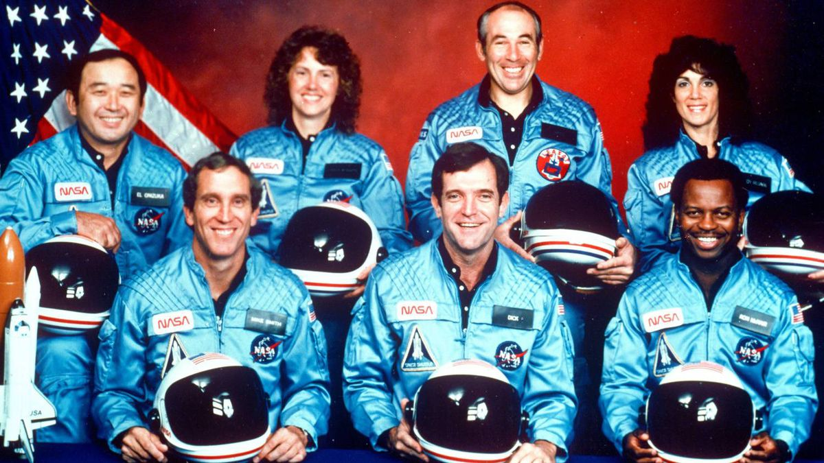 This 1986 file photo provided by NASA shows the crew of the space shuttle Challenger, from left, Ellison Onizuka, Mike Smith, Christa McAuliffe, Dick Scobee, Greg Jarvis, Ron McNair and Judith Resnik.