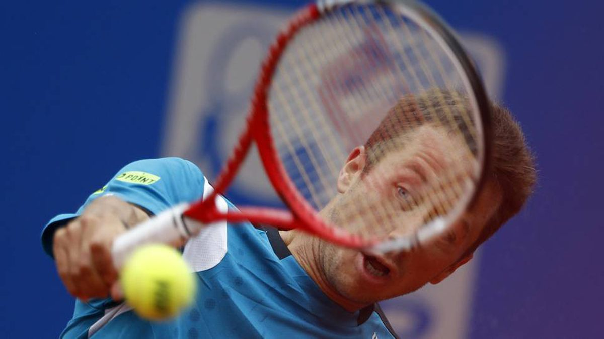 Germany's Philipp Kohlschreiber hits a backhand to Croatia's Marin Cilic during the final of ATP tennis tournament BMW Open in Munich on Sunday.