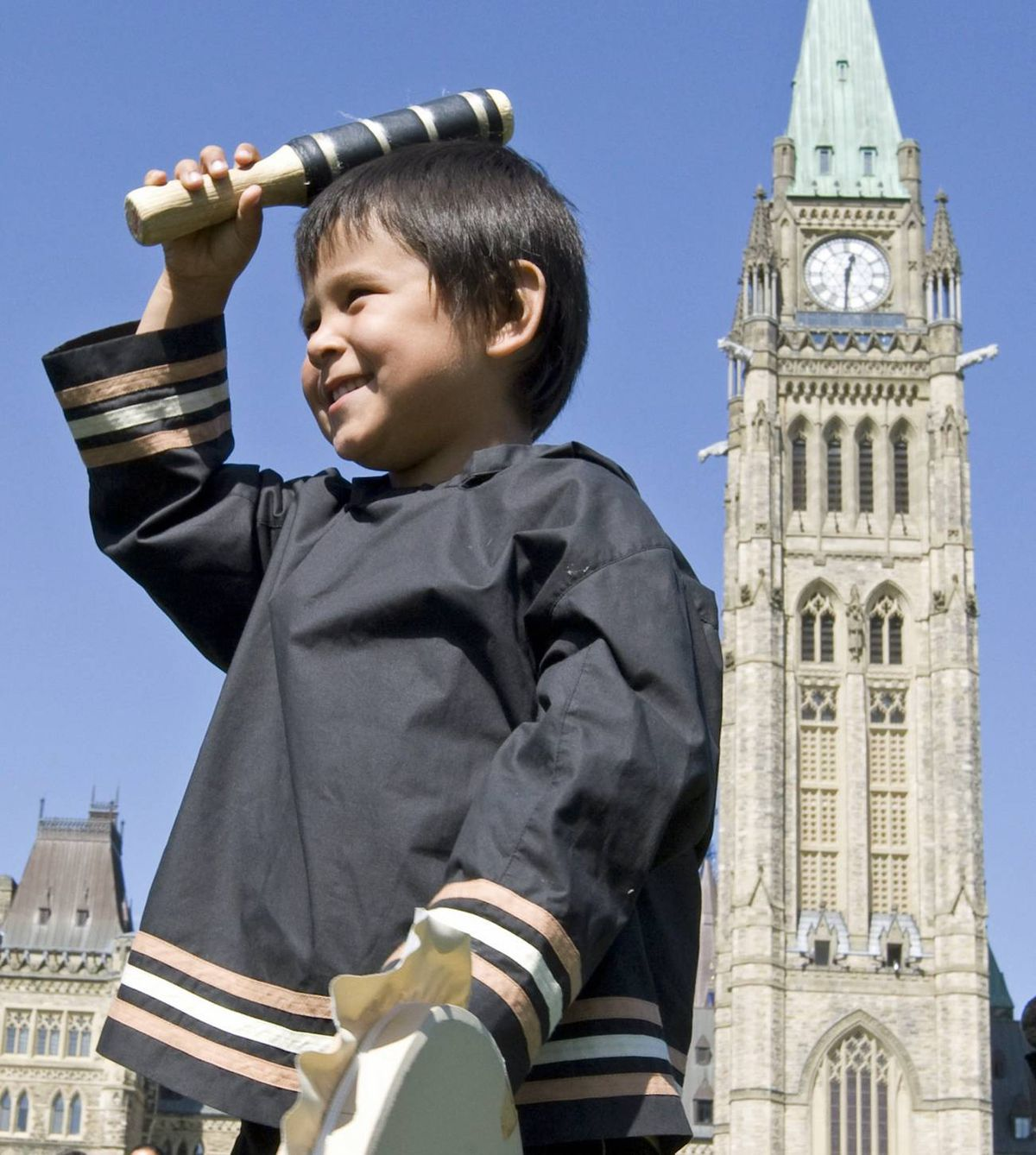An Inuit boy takes part in ceremonies on Parliament Hill on Sept. 10, 2009, marking World Suicide Prevention Day.
