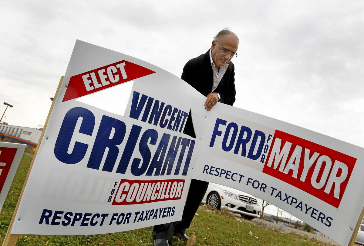 Vince Crisanti is one of Toronto's new city councillors. He pulled off an upset in Ward 1, North Etobicoke, where he was photographed, in a Tim Horton's and removing an election sign nearby. He aligned himself closely with Mayor-elect Rob Ford during the campaign.