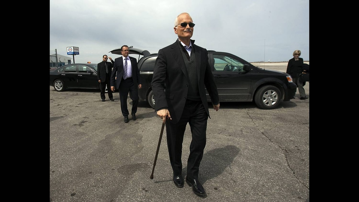 NDP Leader Jack Layton heads to his campaign plane in Winnipeg on Wednesday, April 27, 2011.