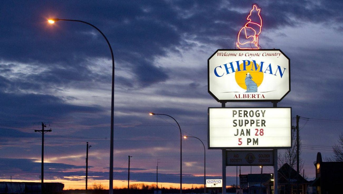 A welcome sign lights up the entrence to Chipman Alta.
