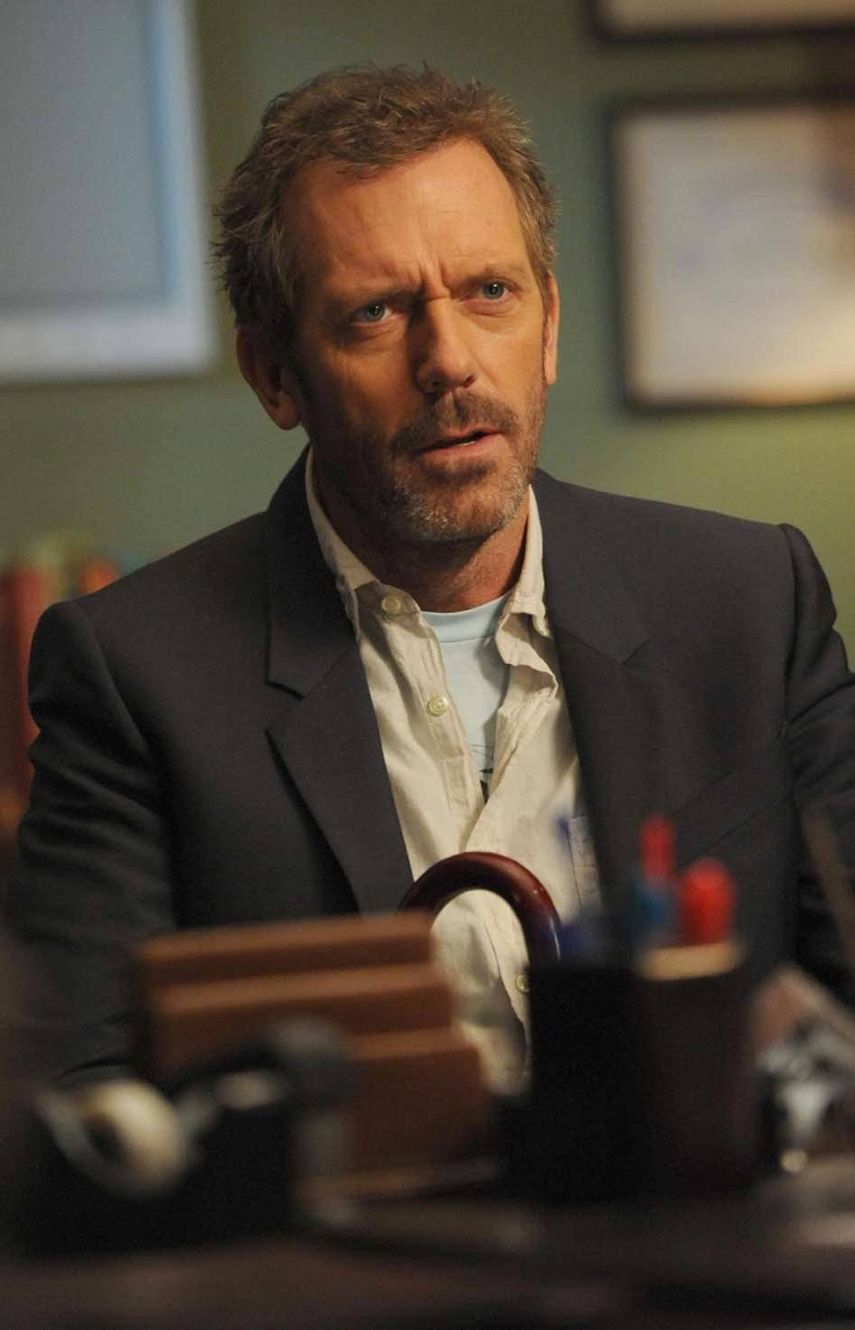 DRAMA House Fox, Global, 9 p.m. ET/PT Where's House? With only three episodes remaining in this popular drama, the titular bad-tempered medical genius, played by Hugh Laurie, has abandoned his hospital duties and headed off on a road trip with his cancer-stricken colleague Wilson (Robert Sean Leonard). With the mad medic in absentia, his staff is forced to treat the ailing and equally testy pathologist Dr. Peter Treiber (Jamie Elman), while making him believe that House is calling the shots. The episode was directed by veteran actor Peter Weller (RoboCop), who also plays a support role as a surgeon.