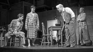 "Andrew Garfield, Finn Wittrock, Philip Seymour Hoffman and Linda Emond in Mike Nichols' ""Death of a Salesman."""