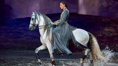 """An actor on horseback from the theatre production """"Odysseo"""""""