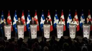NDP leadership candidates, from left, Nathan Cullen, Thomas Mulcair, Paul Dewar, Martin Singh, Niki Ashton, Peggy Nash and Brian Topp attend an NDP leadership debate in Montreal, Sunday, March 4, 2012.