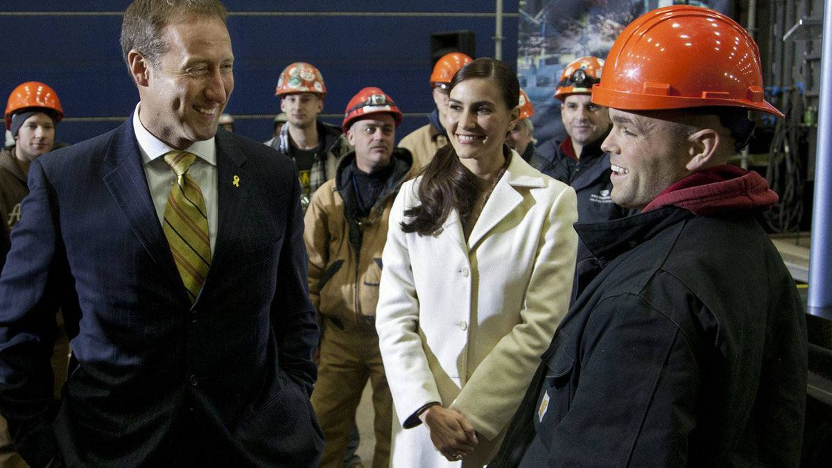 Shortly after their January 2012 wedding, Nazanin Afshin-Jam accompanied her husband, Defence Minister Peter MacKay, left, to the Halifax shipyward. The federal government and Irving Shipbuilding Inc. had just announced an agreement in principle to build the navy's next fleet of warships.