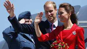The Duke and Duchess of Cambridge wave as they depart Calgary, Friday July 8, 2011.