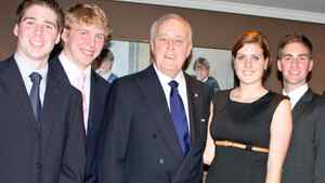 Members of Queen's University's Model Parliament meet former Conservative prime minister Brian Mulroney in Montreal in October, 2010.