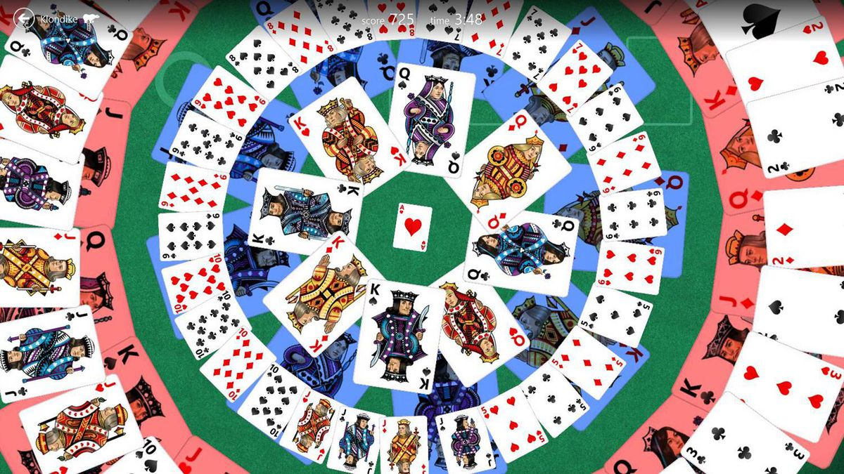 And yes, there's Solitaire. Here's one of the payoff animations when you win at Klondike Solitaire.
