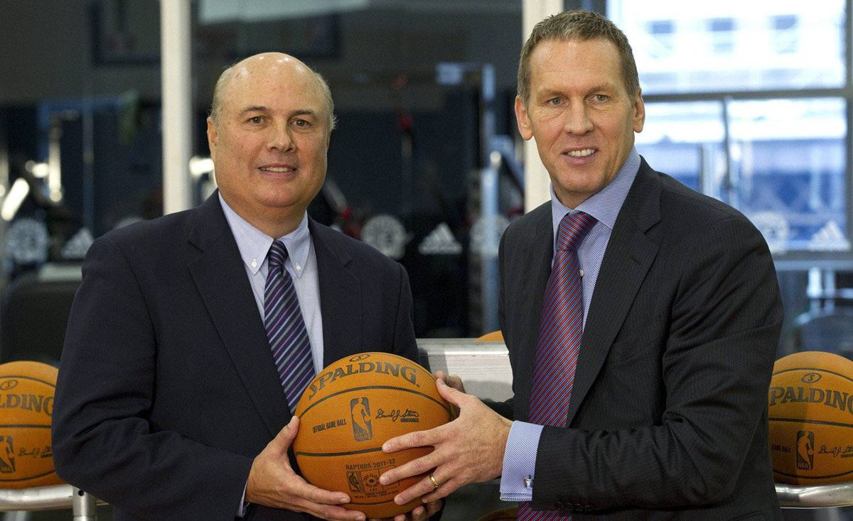 Toronto Raptors new vice-president of basketball operations Ed Stefanski (left) poses with GM Bryan Colangelo following a news conference Toronto on Thursday October 27, 2011.
