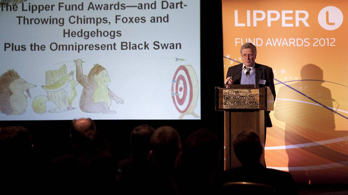 Keynote speaker Philip Tetlock makes brief remarks during the awards ceremony.