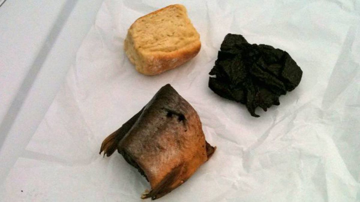 Breakfast in Batchawanna Bay: Bannock, smoked lake trout and beef jerky.