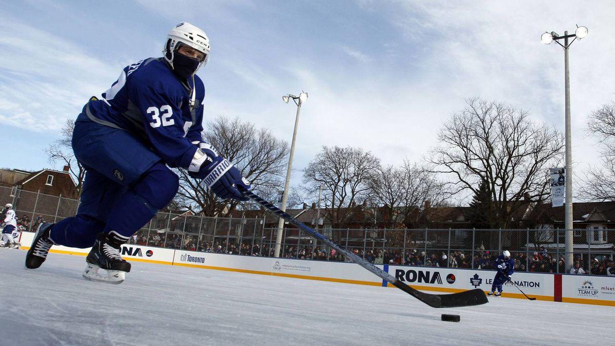 Toronto Maple Leafs forward Kris Versteeg skates during an outdoor practice in Toronto.