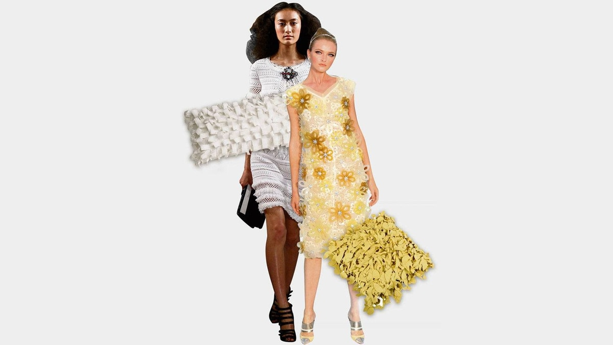 Textured pillows by Canadian designer Catherine Regher (above) bring to mind opulent runway looks by Oscar De La Renta (top left) and Louis Vuitton (top right).