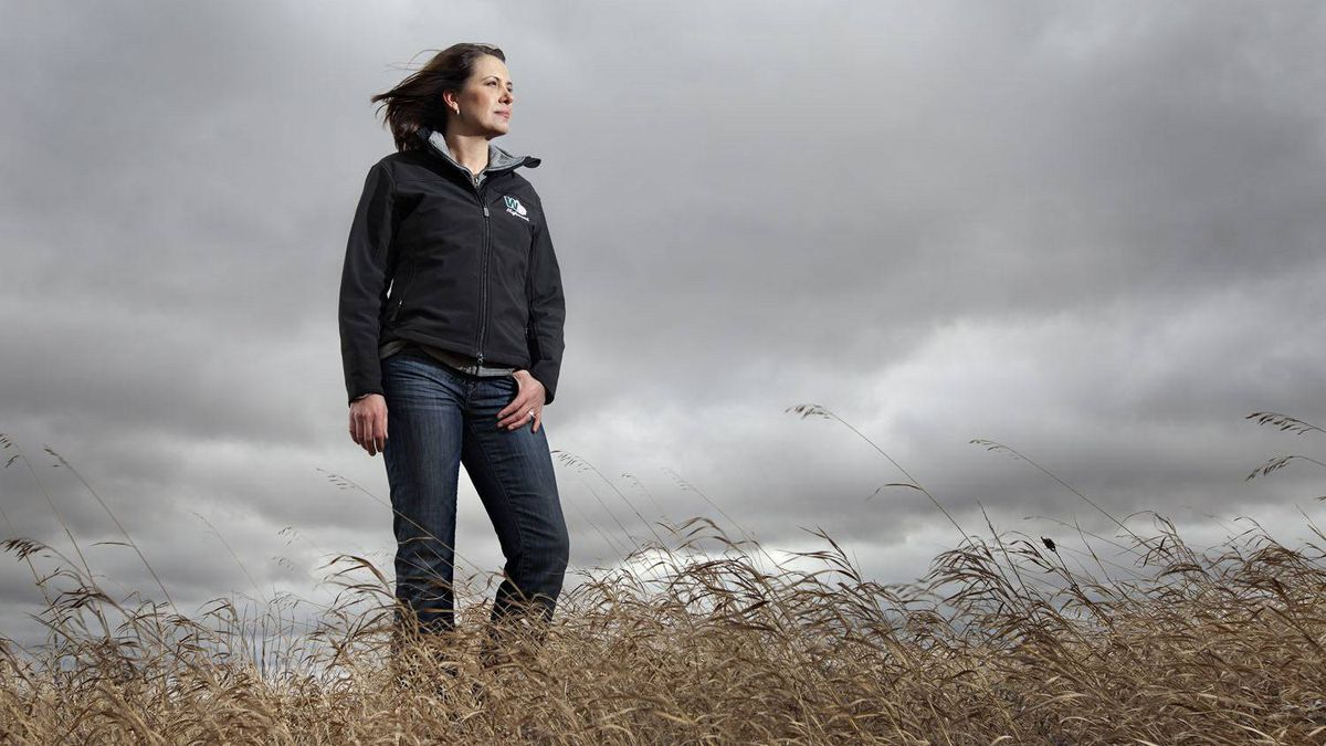 Wildrose Leader Danielle Smith pictured in a grassy field in Stettler Alberta on Friday April 13, 2012.