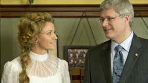 Prime Minister Stephen Harper visits cast members at TV series Murdoch Mysteries on set in Toronto on Oct. 14, 2010.