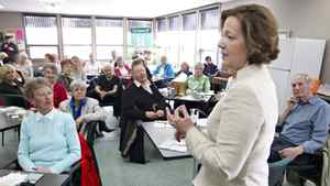 Conservative leader Alison Redford speaks to seniors during a campaign stop at the Westend Seniors Activity Centre in Edmonton, Alta. Friday April 20, 2012.