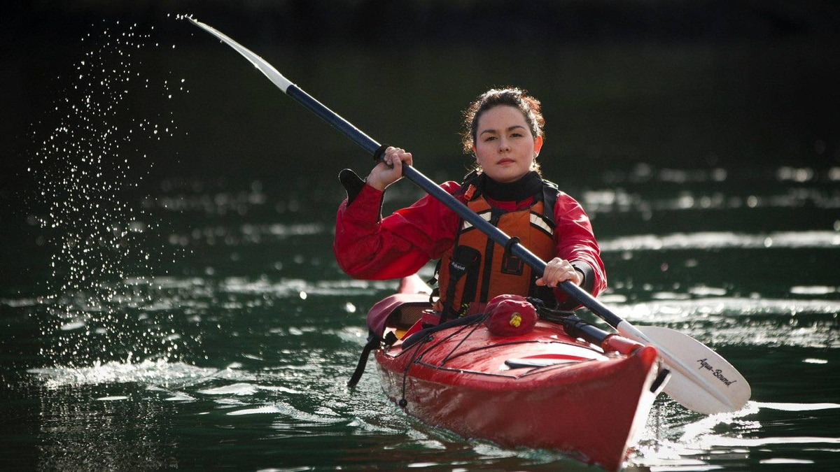 Avijaja Jepsen, 18, from Greenland, in kayak at Pearson College on Vancouver Island near Victoria February 08, 2012 after class.