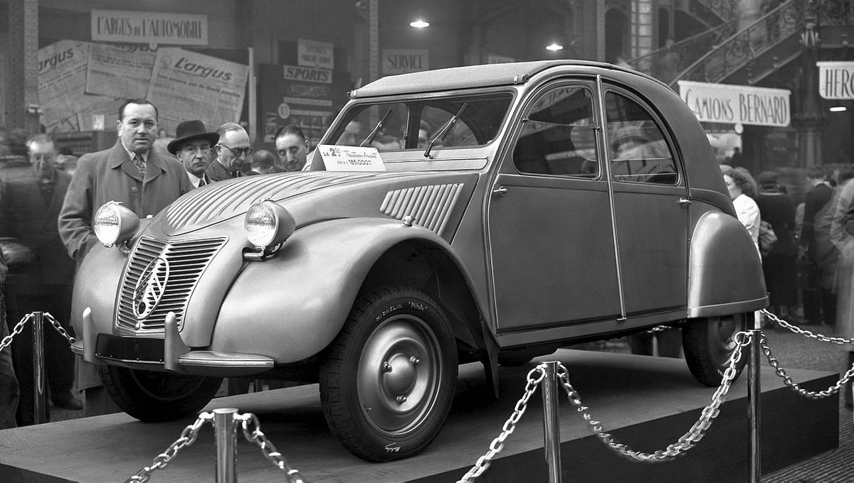 October 7, 1948: The first exhibition of a 2CV Citroën during the Paris Car Show in the Grand Palais. French auto maker Citroën produced the car from 1948 to 1990.