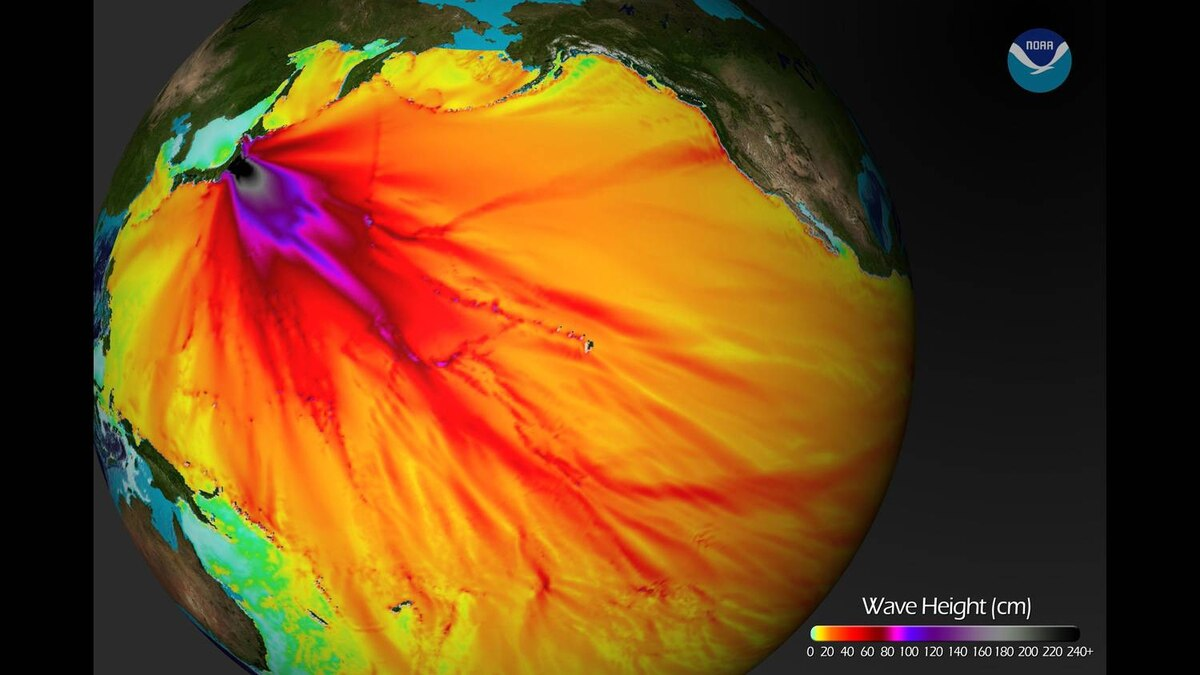 This National Oceanic and Atmospheric Administration (NOAA) image released on March 11, 2011 shows a model run from the Center for Tsunami Research at the NOAA Pacific Marine Environmental Laboratory showing the expected wave heights of the tsunami as it travels across the Pacific basin.