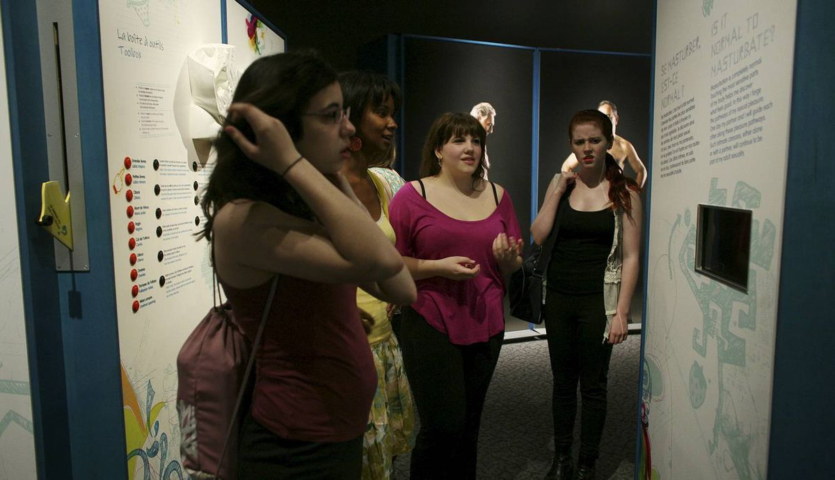 May 23, 2012: Teenagers Faith Thomson (L-R), Danica Brockwel and Leah Careless view the section that was banned at SEX: A Tell-all Exhibition at the Canada Science and Technology Museum in Ottawa. DAVE CHAN for The Globe and Mail