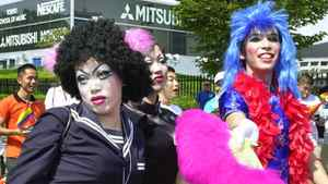 Drag queens gather at Yoyogi Park in central Tokyo, Japan, before the beginning of the Tokyo Gay and Lesbian Parade Sunday, Sept. 8, 2002.