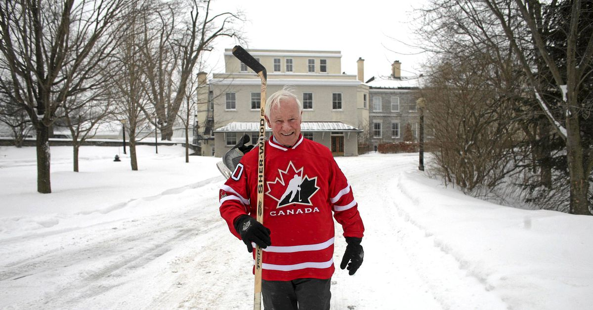 Governor General David Johnston walks down to the outdoor rink at Rideau Hall in Ottawa on March 1, 2012.